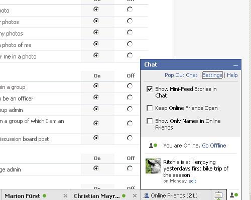 Facebook Chat Optionen