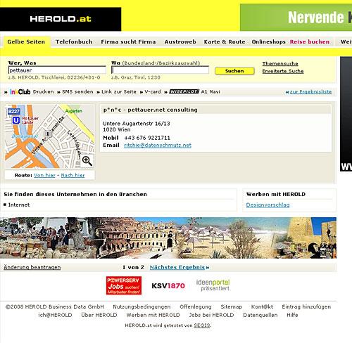 p*n*c Profilseite auf Herold.at