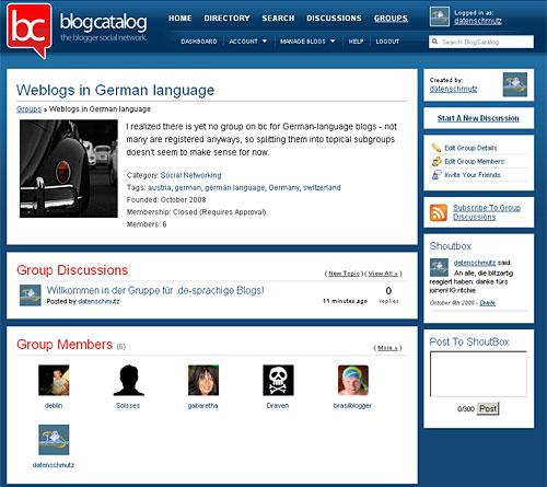 blogcatalog Gruppen-Screen
