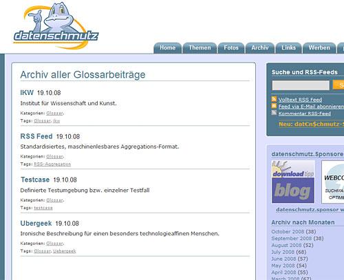 WordPress Glossar mit Kategoriearchiv