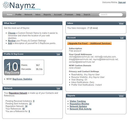 Das neue Naymz Dashboard