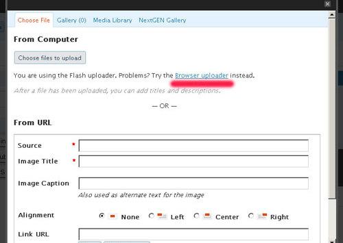 WordPress: Flash-Upload funktioniert nicht (mehr)