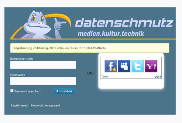 datenschmutz Registrierung - Login