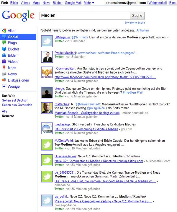 Die neue Google Suche: Social Search