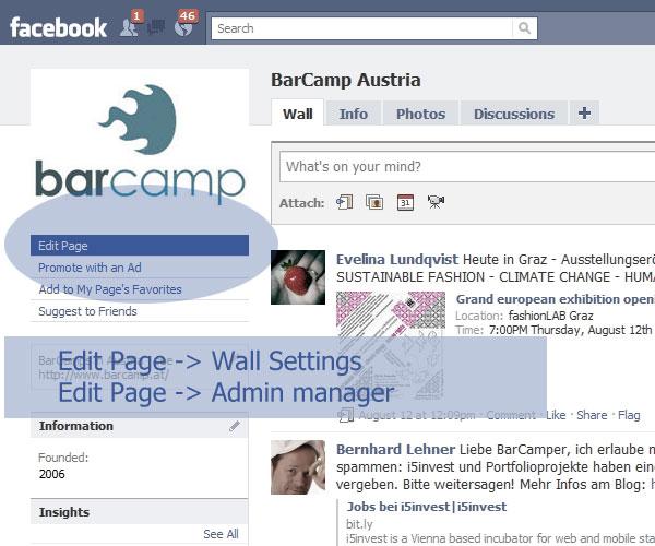 Facebook Page - Einstellungen bearbeiten