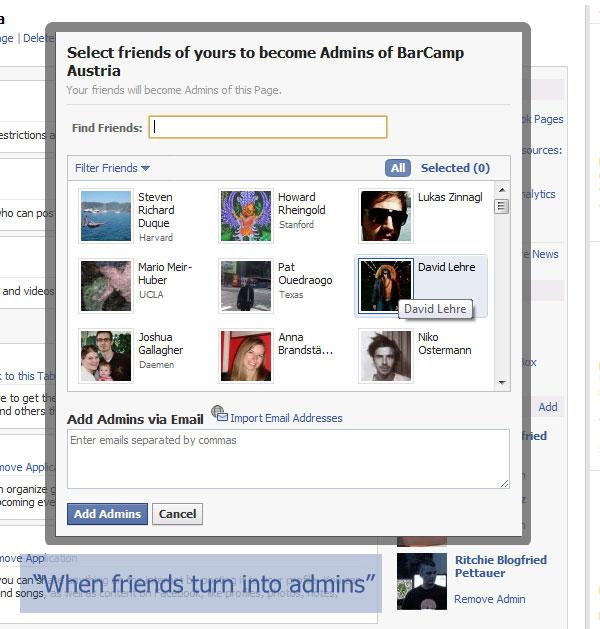 Facebook Page - Admin Auswahl
