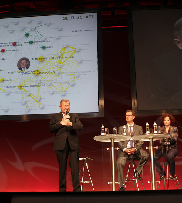 Dr. Ludwig Scharinger erklärt Harald Katzmair und Elisabeth Zehetner seine Networking-Prinzipien.
