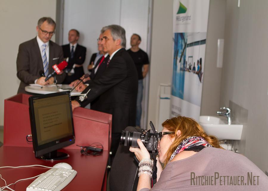 Werner Faymann und Hans Niessl an der FH Burgenland: Angewandter Online-Journalismus