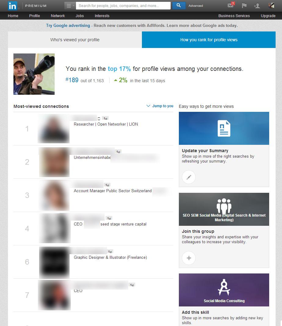 LinkedIn Sichtbarkeit