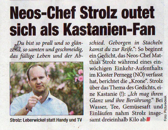 Matthias Strolz und sein Einlauf