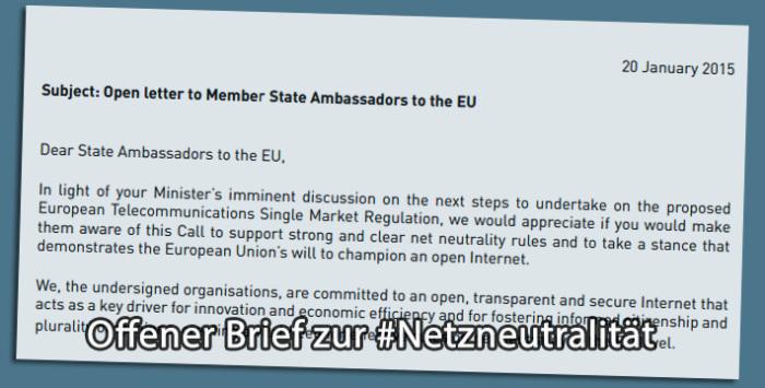 Offener Brief zur Netzneutralität an die EU-Vertreter
