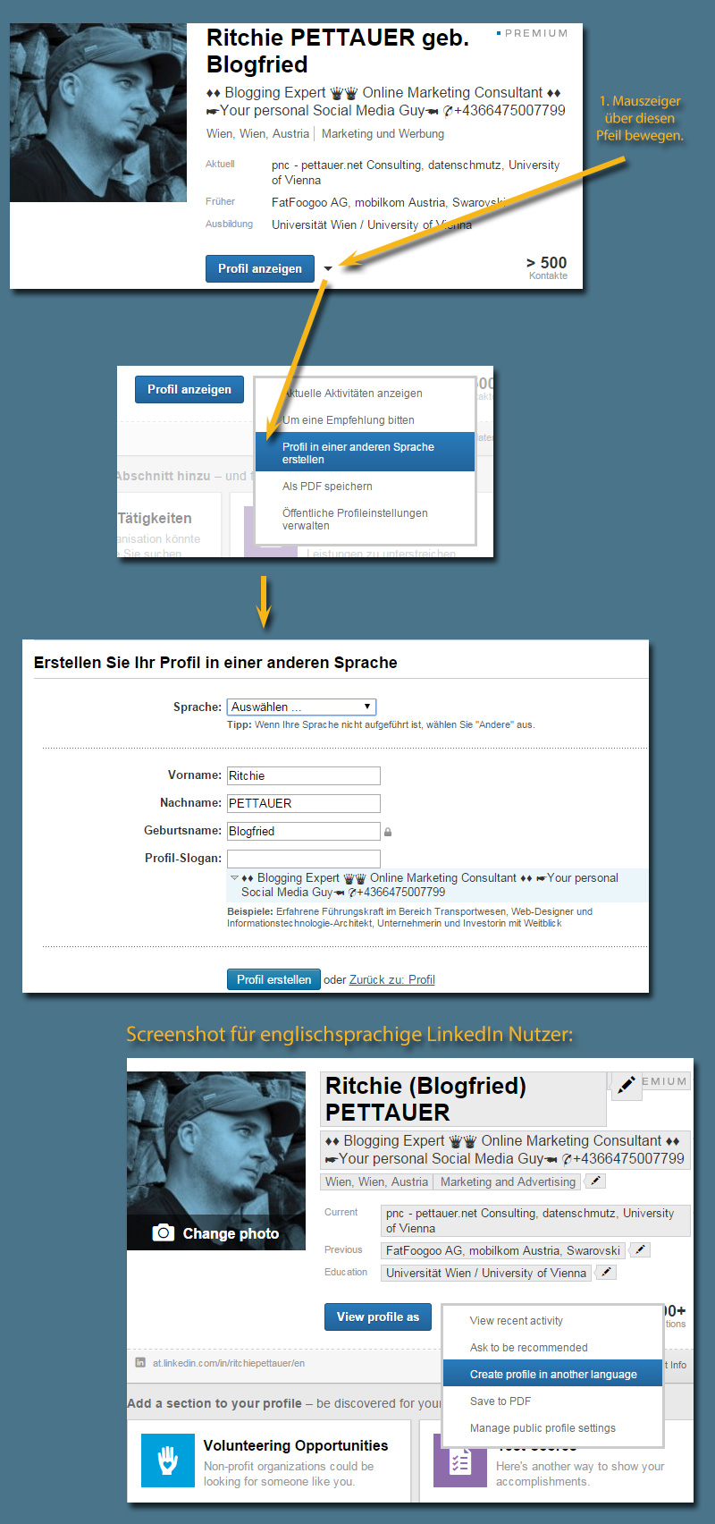 LinkedIn: Mehrsprachige Profile