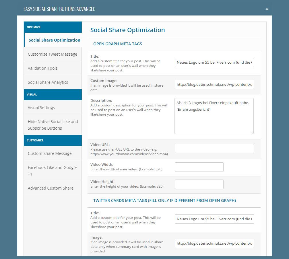 Social Button Einstellungen direkt am Beitragsscreen editieren.
