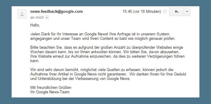 Google News Aufnahme