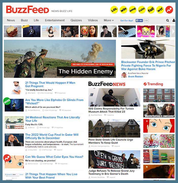 Buzzfeed würfelt die Themen wild durcheinander.