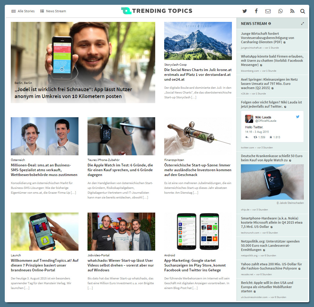 trendingtopics.at - die Startseite (Screenshot)