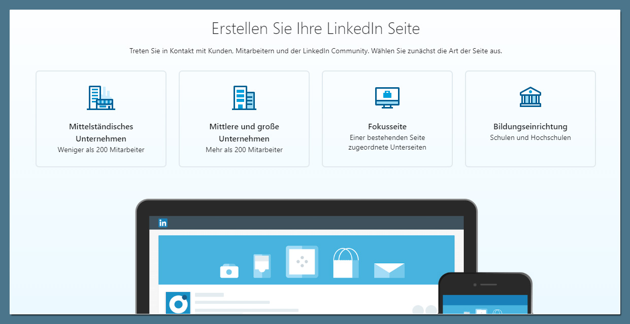 LinkedIn Company Page: Seitentyp auswählen