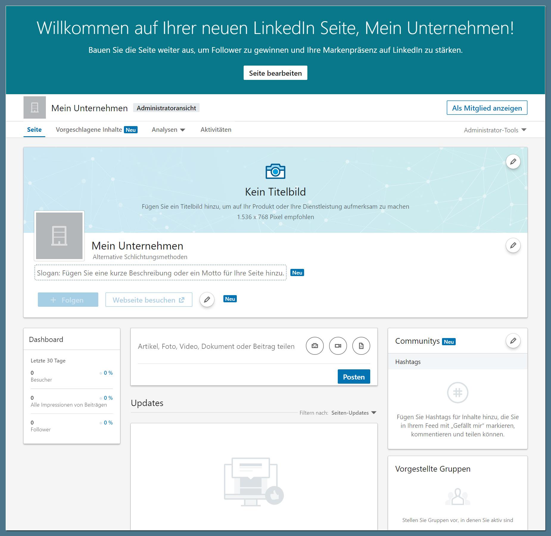 LinkedIn Company Page: fertige Seite in Administratoren-Ansicht