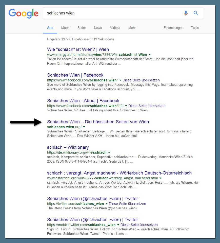 Schiaches Wien Suchmaschinen-Platzierung
