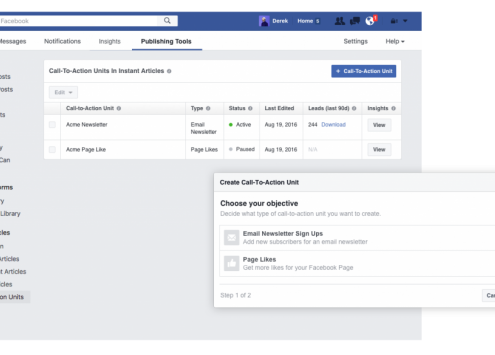 Call-to-Actions für Facebook Instant Articles