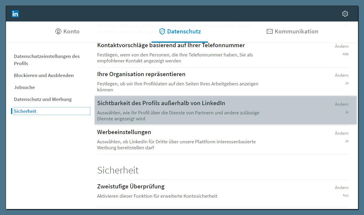 LinkedIn Profilsichtbarkeit außerhalb