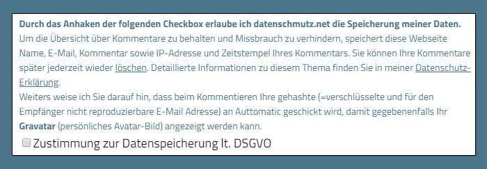 DSGVO Checkbox im Kommentar-Formular