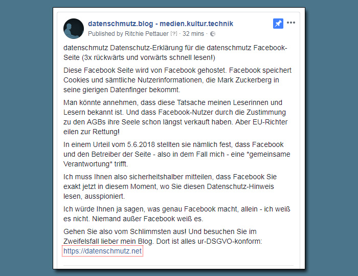 Facebook Page Datenschutz Erklärung