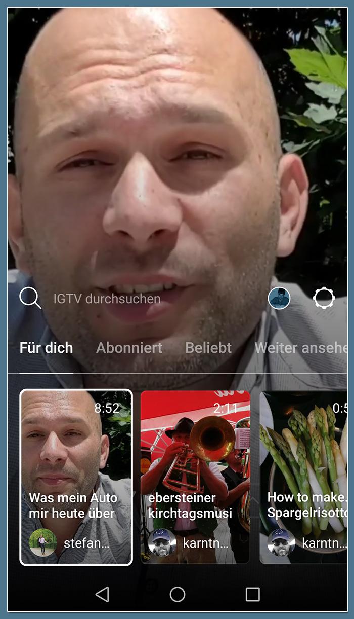 IGTV: Für Dich Auswahl