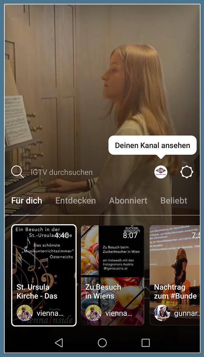Die IGTV Navigation wird nach dem Swipen nach oben am unteren Bildschirmrand eingeblendet.