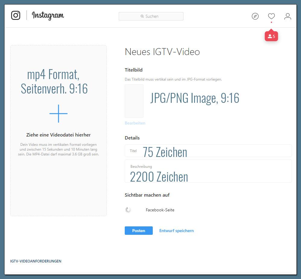 Hier wählen Sie Videodatei, Titel, Beschreibung und Thumbnail.