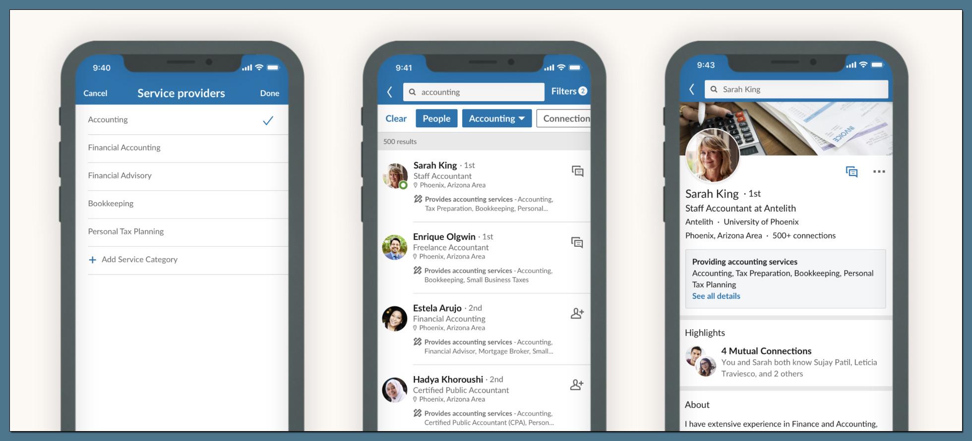 LinkedIn Services in der Suche