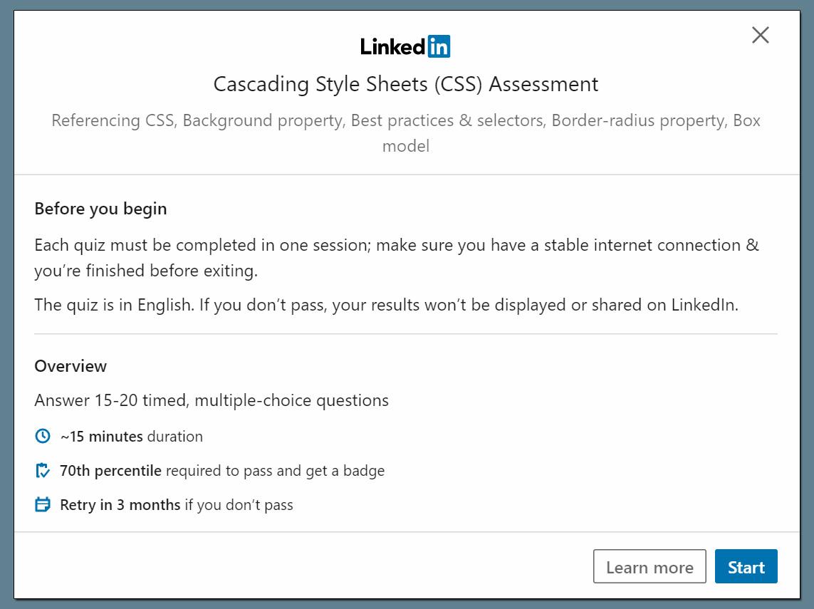 LinkedIn Skill Assessment Abschluss