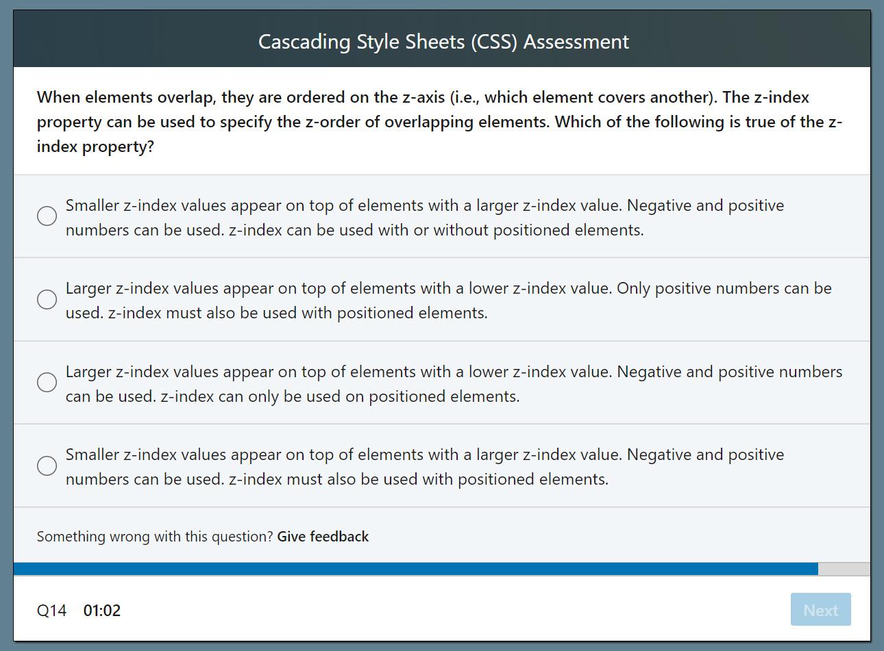 LinkedIn Skill Assessment Beispielsfrage