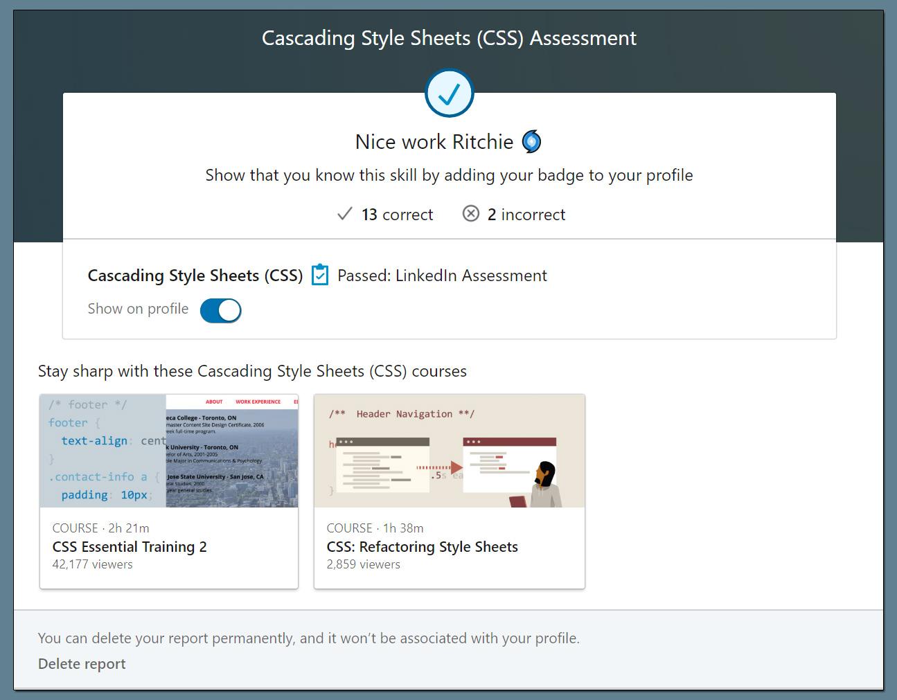 LinkedIn Skill Assessment Badge