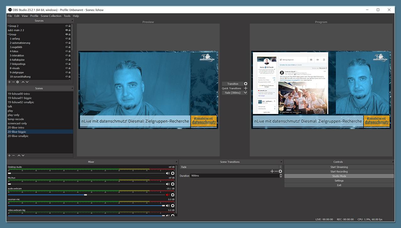 OBS Studio für LinkedInLive